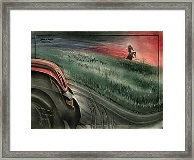 Framed Print featuring the pastel Bluemustangscape 2010 by Glenn Bautista