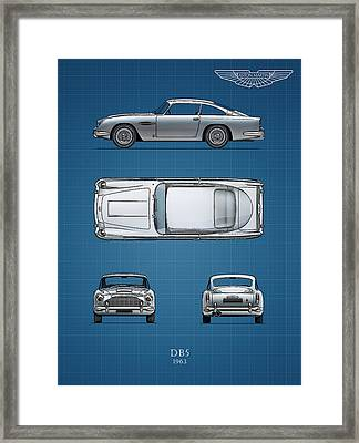 Blueprint Aston Martin Db5 Framed Print