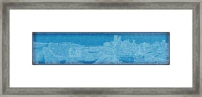 Blueprint Of Downtown Miami Framed Print by Joe Myeress