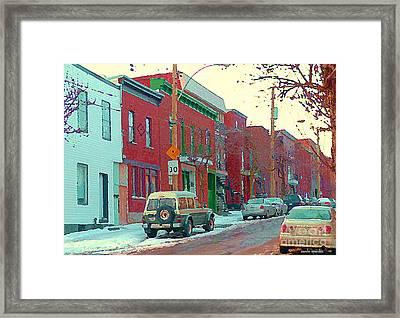 Blues And Brick Houses Winter Street Suburban Scenes The Point Sud Ouest Montreal Art Carole Spandau Framed Print by Carole Spandau