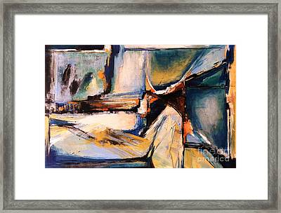 Blues And Orange Framed Print by Glory Wood