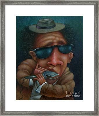 Blues In Hand 2001 Framed Print by Larry Preston