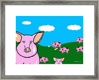 Bluesky Farm Pigs Framed Print