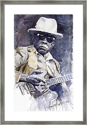 Bluesman John Lee Hooker 3 Framed Print by Yuriy  Shevchuk