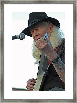 Bluesman Johnny Winter Framed Print by Mike Martin