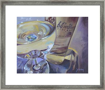 Bluestone Traminette And Glass Framed Print by Donna Tuten