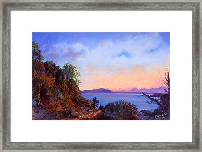 Framed Print featuring the pastel Bluff by Susan Will