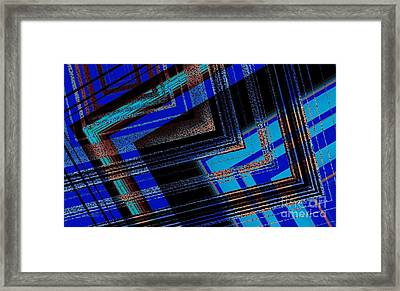 Bluish Geometric Design Framed Print by Mario Perez