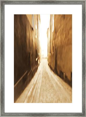 Blurred Alley - Monochrome Framed Print by Ulrich Kunst And Bettina Scheidulin