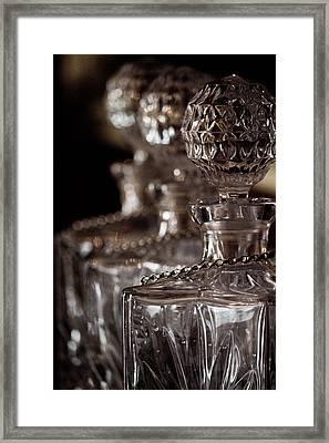 Blurred Bottles Framed Print by Mamie Thornbrue