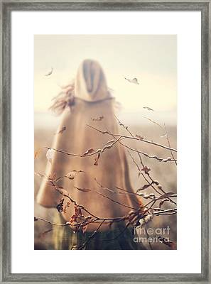 Blurred Image Of A Woman With Cape Framed Print by Sandra Cunningham