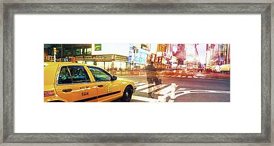 Blurred Traffic In Times Square, New Framed Print