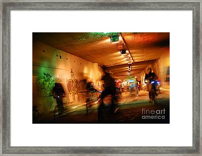 Blurred Urban Cycling At Sao Paulo Undergrounds Framed Print