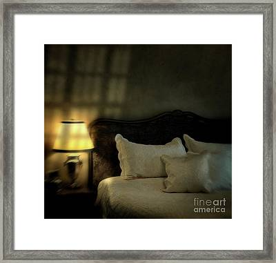 Blurry Image Of A Vintage Looking Bedroom Framed Print by Sandra Cunningham