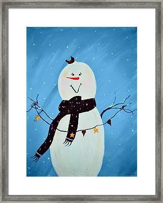 Blushing Snowman Framed Print by Chastity Hoff