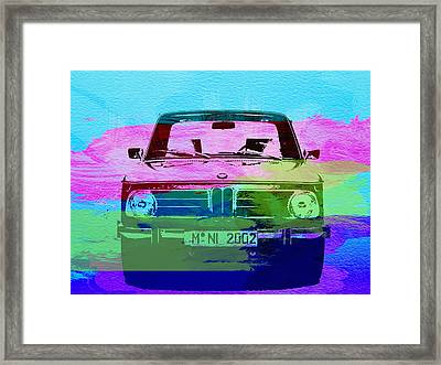 Bmw 2002 Front Watercolor 1 Framed Print by Naxart Studio