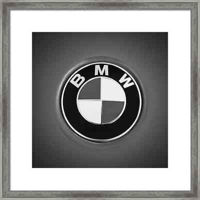 Bmw Emblem -0460bw Framed Print