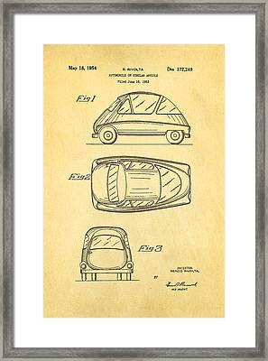 Bmw Isetta Automobile Patent Art 1954 Framed Print by Ian Monk