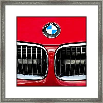 Bmw Roundel Symbol And Grill E186 Framed Print