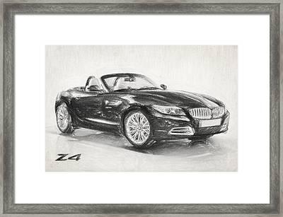 Bmw Z4 Sketch Framed Print