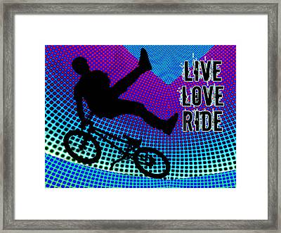 Bmx Fractal Movie Marquee Live Love Ride Framed Print by Elaine Plesser