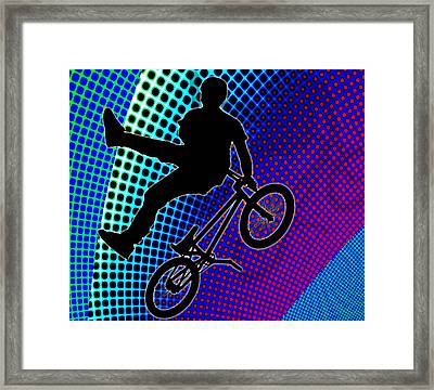 Bmx In Fractal Movie Marquee Framed Print by Elaine Plesser