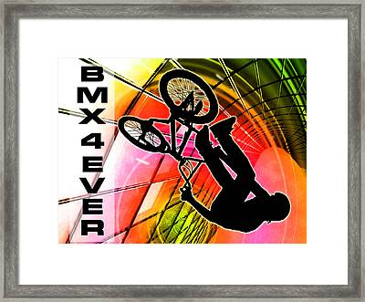 Bmx In Lines And Circles Bmx 4 Ever Framed Print by Elaine Plesser