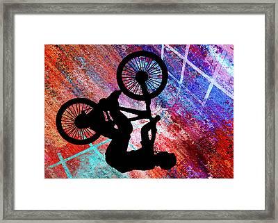 Bmx On Rusty Grunge Framed Print by Elaine Plesser