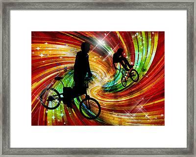Bmxers In Red And Orange Grunge Swirls Framed Print by Elaine Plesser
