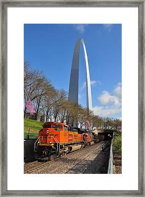 Bnsf Ore Train And St. Louis Gateway Arch Framed Print