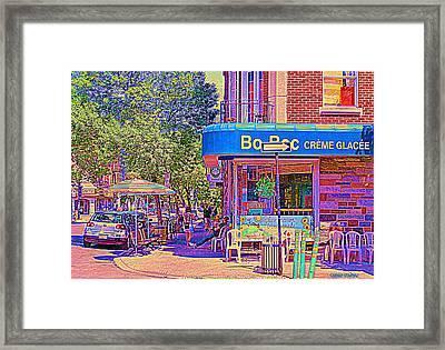 Bo Bec Creme Glacee Ice Cream Shop Laurier Montreal Springtime Cafe Scene By Carole Spandau Framed Print by Carole Spandau