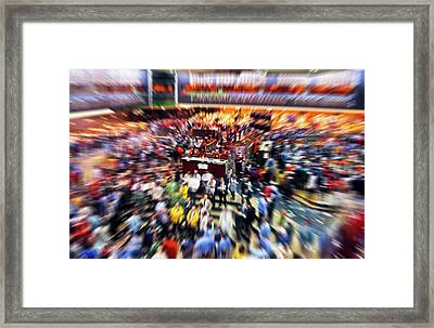Board Of Trade Floor In Chicago, Cook Framed Print