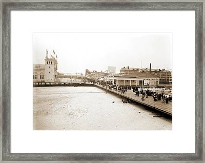 Board Walk West From Steel Pier, Atlantic City Framed Print by Litz Collection