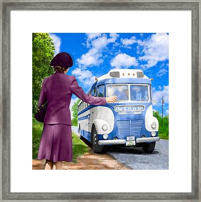 Boarding A Greyhound Bus For Macon Georgia - 1943 Framed Print