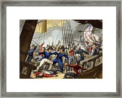 Boarding And Taking The American Ship Framed Print by William Heath