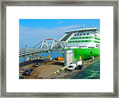 Boarding The Baltic Sea Ferry From Tallinn-estonia To Helsinki-finland Framed Print by Ruth Hager