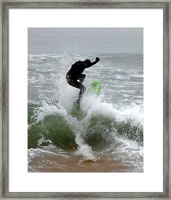 Boardskimming - Into The Surf Framed Print by Kim Bemis