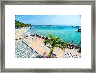 Boardwalk And Sea Framed Print by Jess Kraft