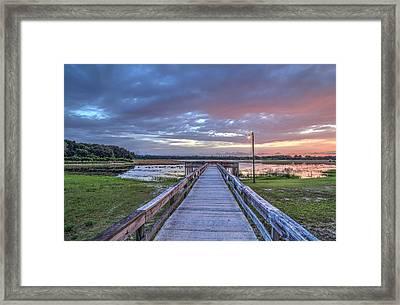 Boardwalk At A Lake Framed Print by Wioletta Pietrzak