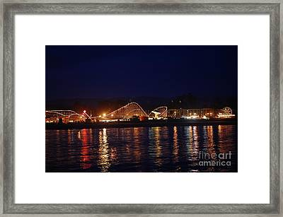 Santa Cruz Boardwalk At Night Framed Print