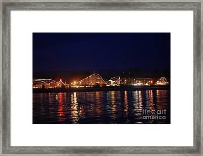 Santa Cruz Boardwalk At Night Framed Print by Debra Thompson