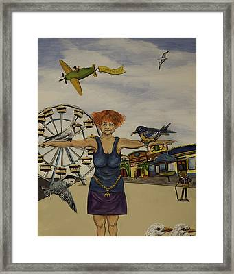 Boardwalk Birdwoman Framed Print