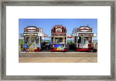 Framed Print featuring the photograph Boardwalk Dining by Glenn DiPaola