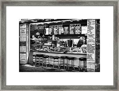 Boardwalk Dining Framed Print by John Rizzuto