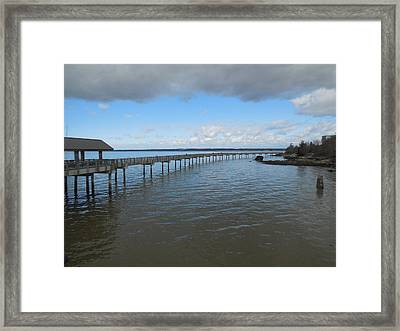 Boardwalk In Blue Framed Print by Karen Molenaar Terrell