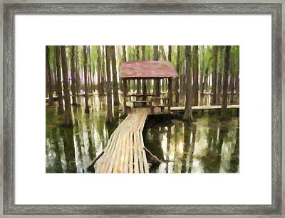 Boardwalk In The Forest Framed Print by Lanjee Chee