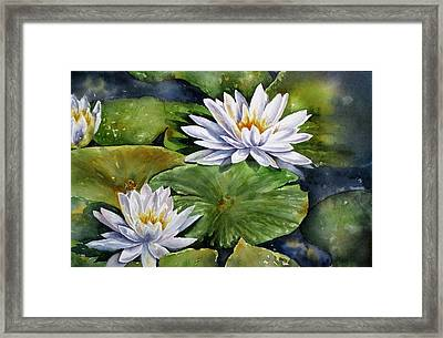 Framed Print featuring the painting Boardwalk Lilies by Mary McCullah