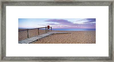 Boardwalk On The Beach At Dawn, Chesil Framed Print