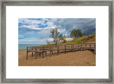Boardwalk On The Beach At Lake Michigan Framed Print