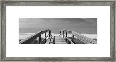 Boardwalk On The Beach, Gasparilla Framed Print